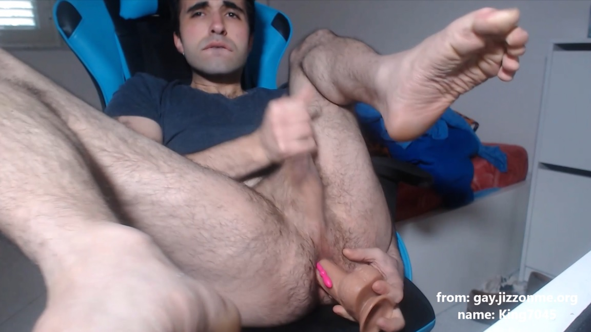 King7045 strokes cock and drills ass with big dildo